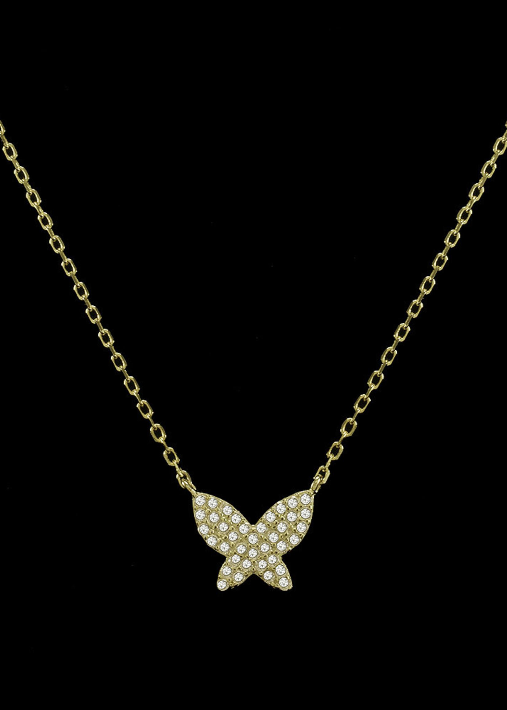Be-Je Designs Beje - Gold Pave Butterfly Necklace (SS602N)