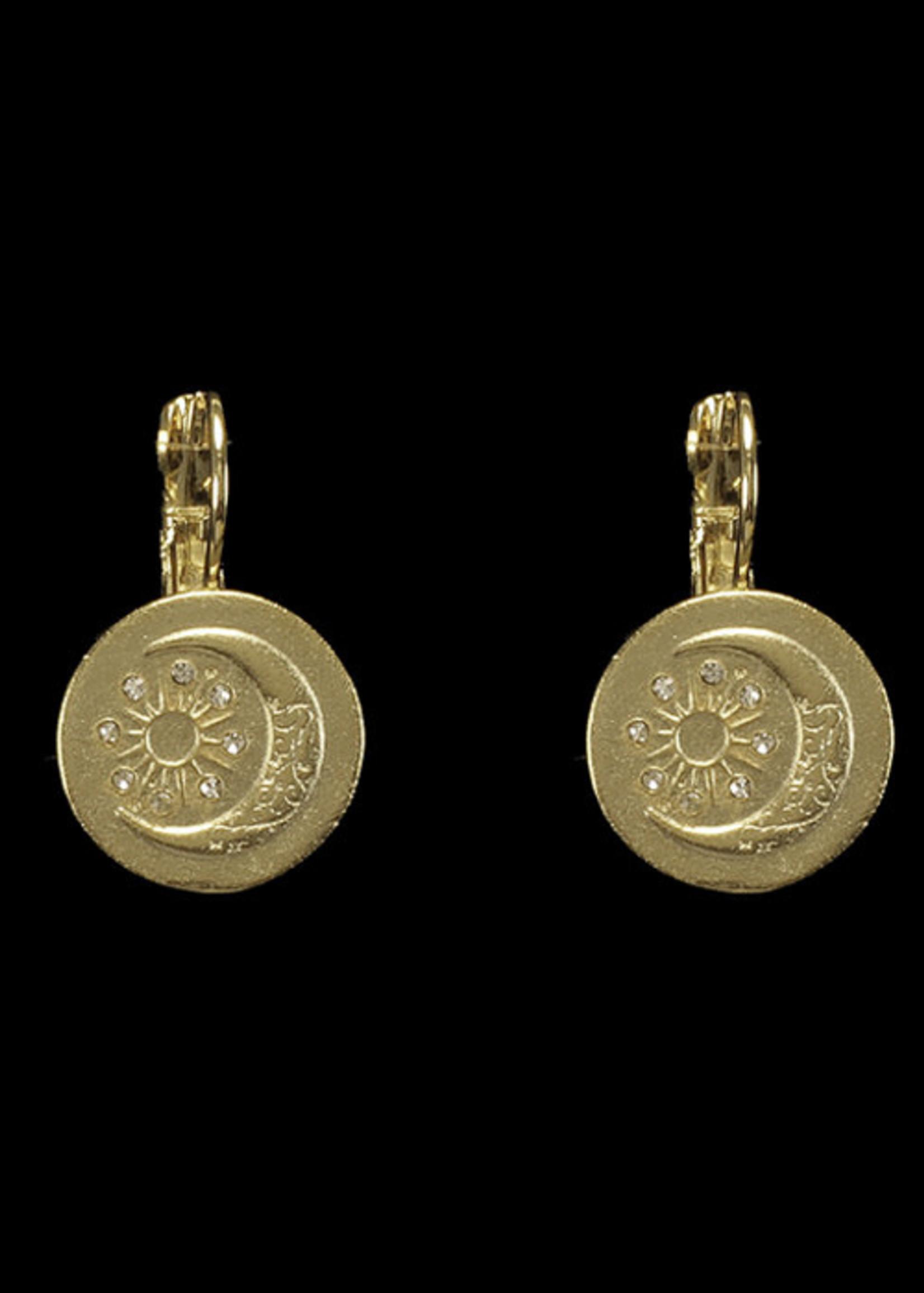 Be-Je Designs Beje - Gold Disc Moon/Stars Earrings (MC3486E)