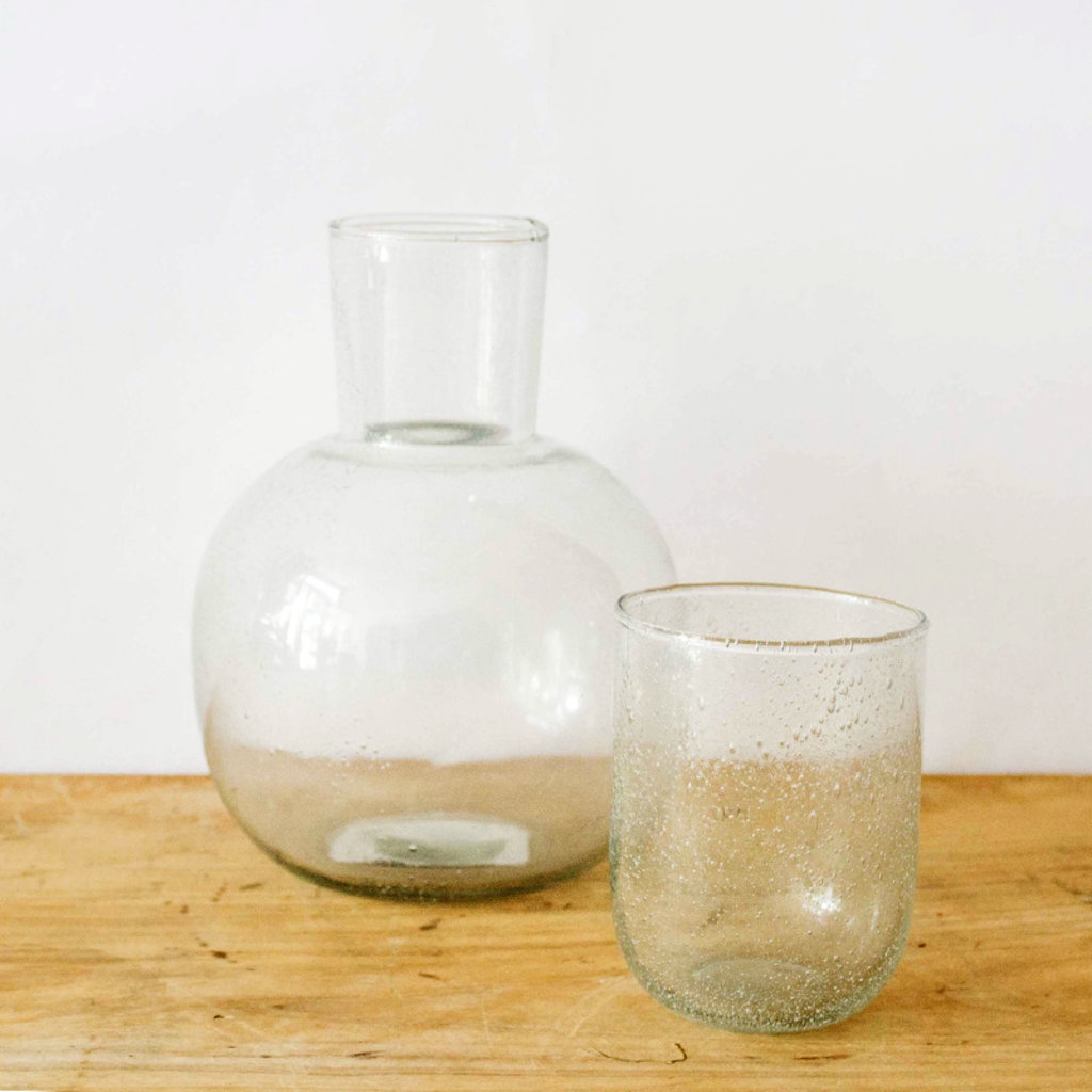 Seeded Glass Carafe with Glass, Clear