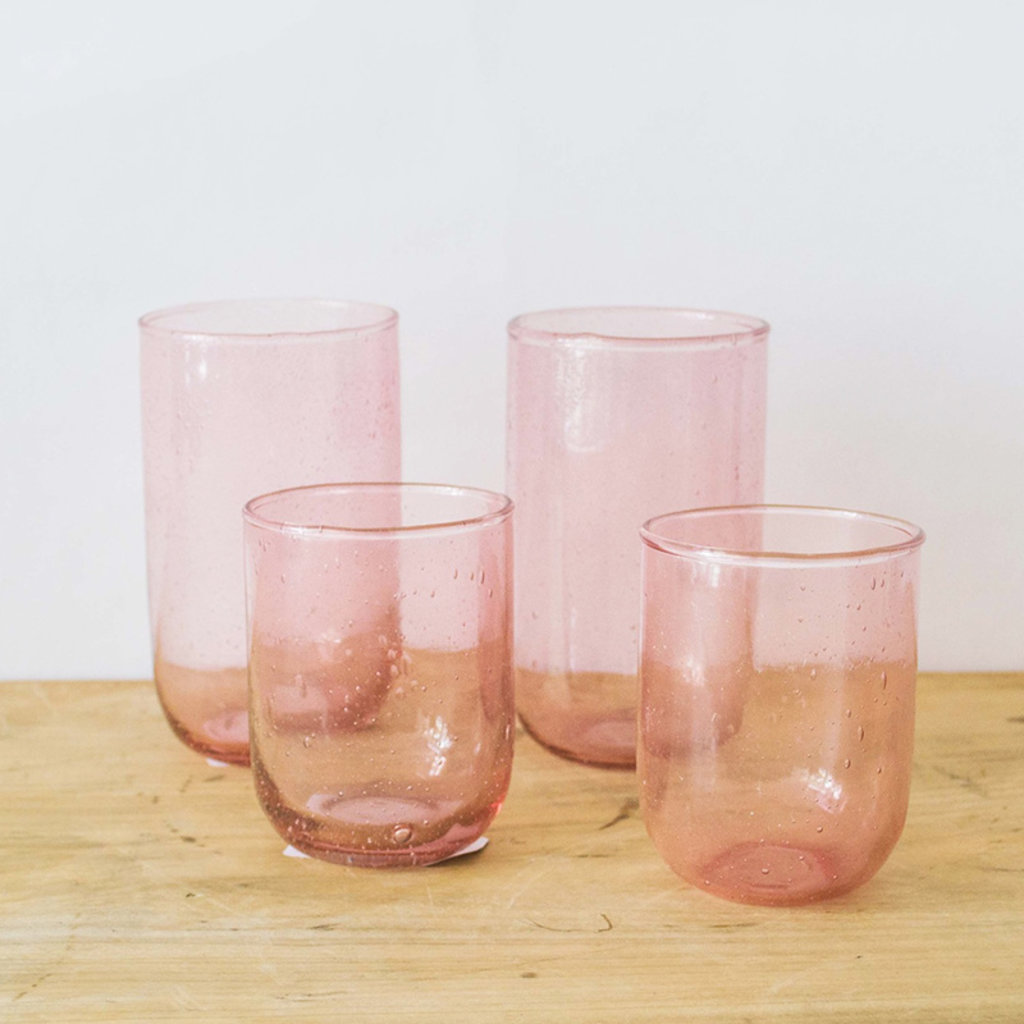 Sir Madam Seeded Tall Glasses- Pale Rose, Set/ 2.  16 oz