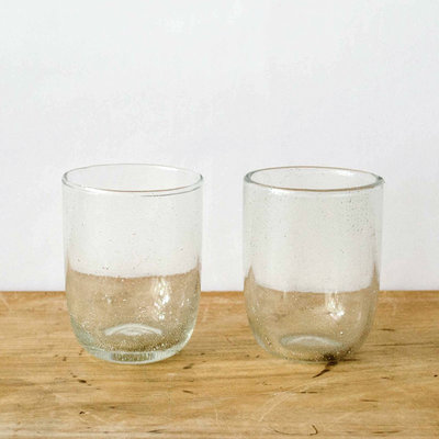 Sir Madam Seeded Short Glasses - Clear, Set of 2