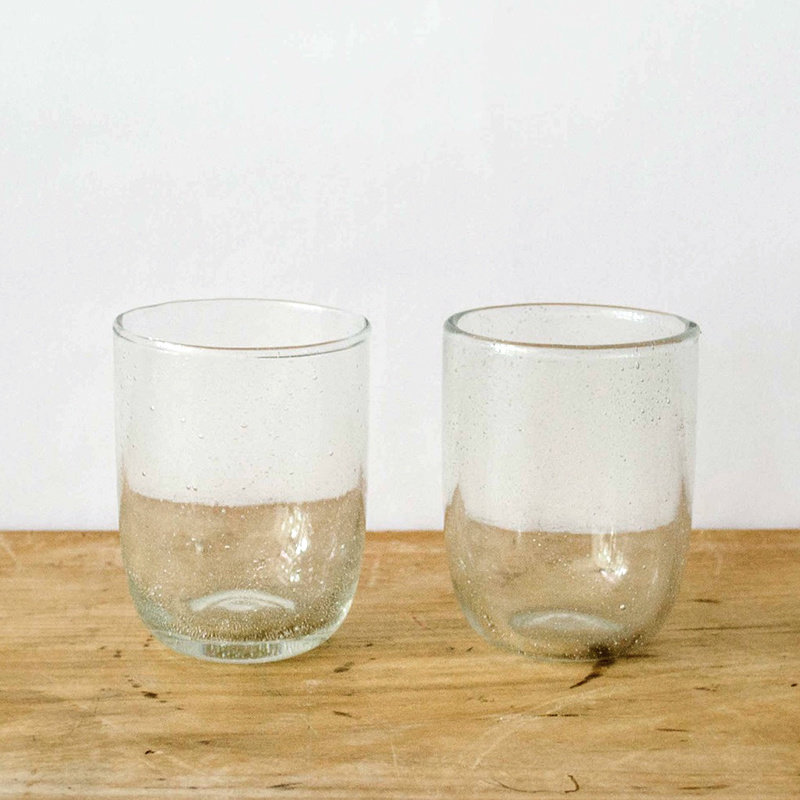 Seeded Short Glasses - Clear, Set of 2