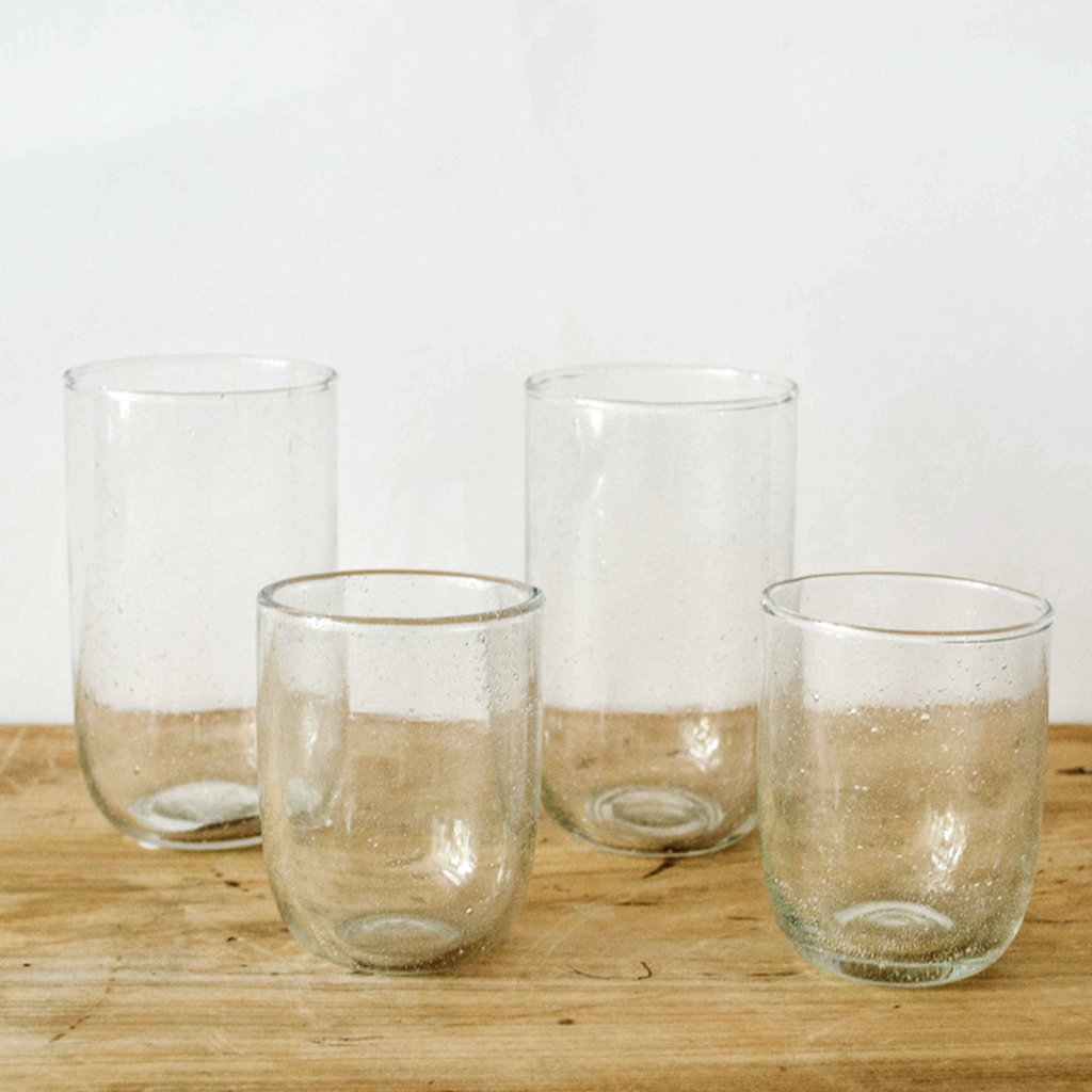Seeded Short Glasses- Clear, Set/ 2.  8 oz
