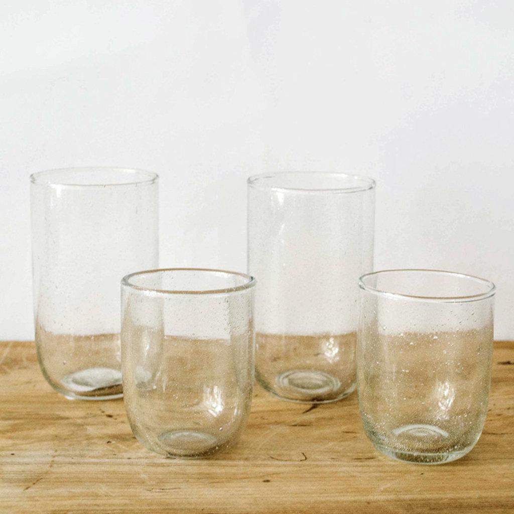 Sir Madam Seeded Short Glasses- Clear, Set/ 2.  8 oz