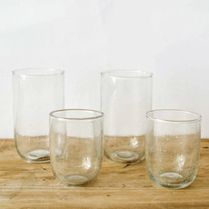 Seeded Short Glasses- Clear, Set/ 2.  8 oz