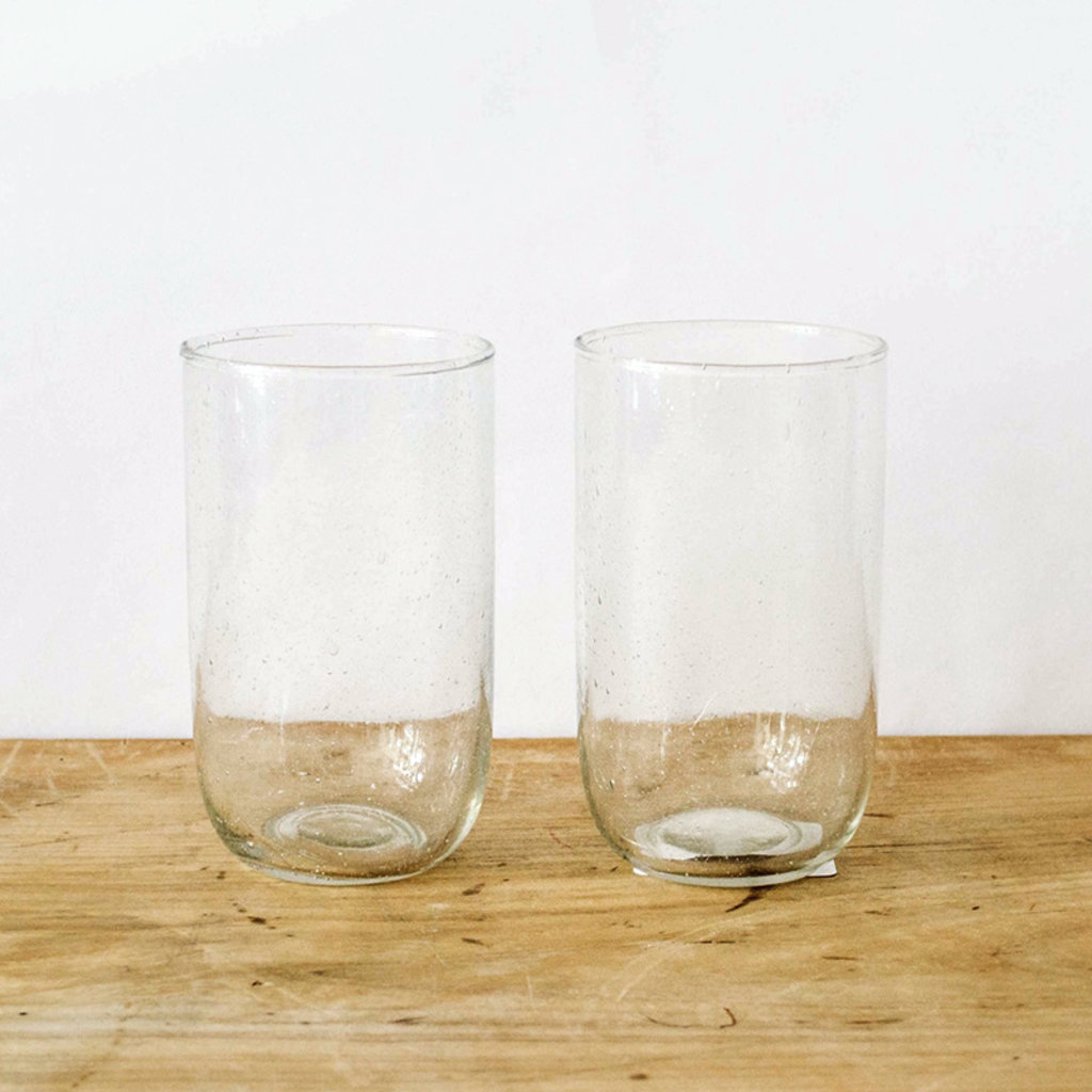 Seeded Tall Glasses- Clear,  Set/ 2.  16 oz