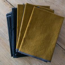 Adelene Simple Cloth Sturdy Girl Black Stonewashed Napkins 18x18, Heavy Purl Stitch w/ Charcoal Thread
