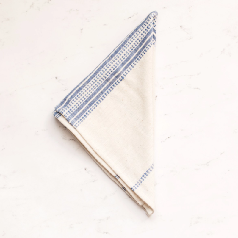 Creative Women Aden Napkin - Natural with Blue Stripes