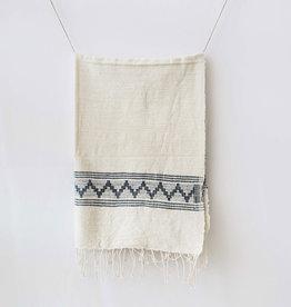 Creative Women Tibeb Cotton Hand Towel, Natural w/ Navy