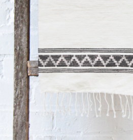 Creative Women Tibeb Cotton Hand Towel, Natural w/ Grey