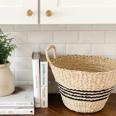 Woven Palm & Seagrass Baskets- Black Set of 2