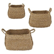 Large Square Basket W/Handles, Set of 3
