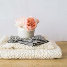 KONTEX Kontex Lattice Linen Bath Towel, Ivory