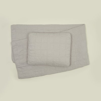Hawkins New York Simple Linen Quilt, King- Light Grey