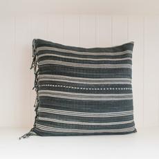 Tshaj Tribal Hemp Striped Hand Woven Indigo Pillow w tassels- 20x20, with insert