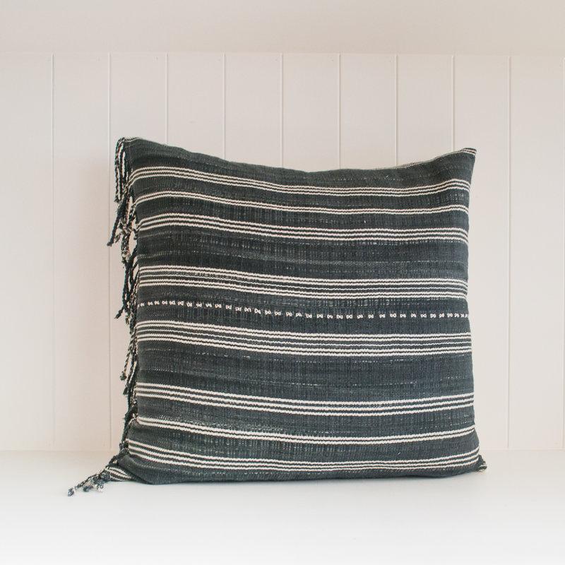 Tribal Hemp Striped Hand Woven Indigo Pillow w tassels- 20x20, with insert