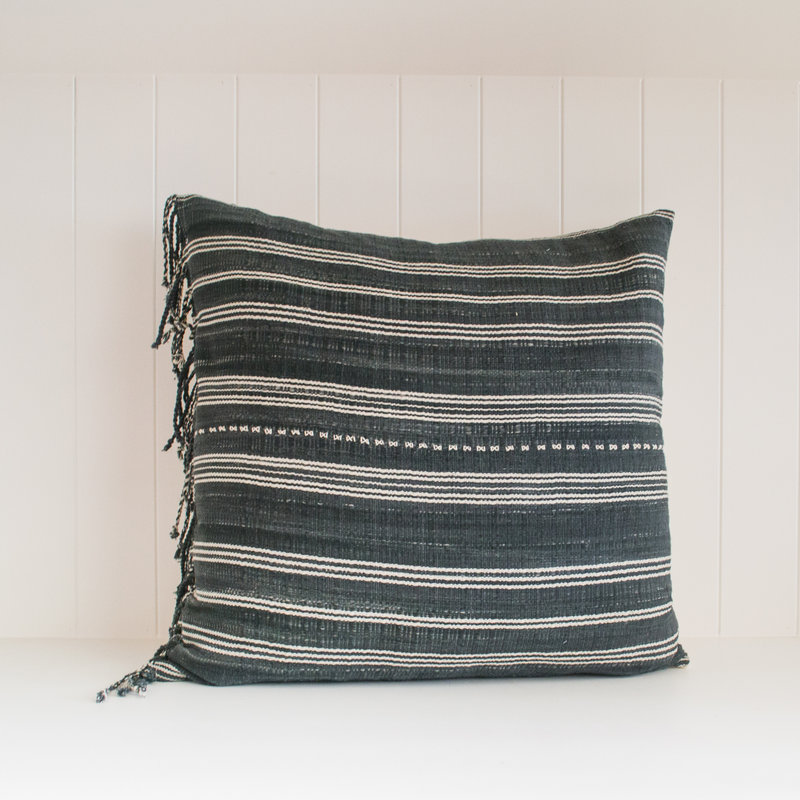 Tshaj Tribal Hemp Striped Hand Woven Indigo Pillow w tassels- 20x20, with insert