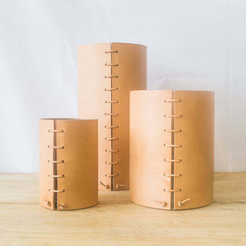 Made Solid Tan Natural Leather Wrapped Vase, sm