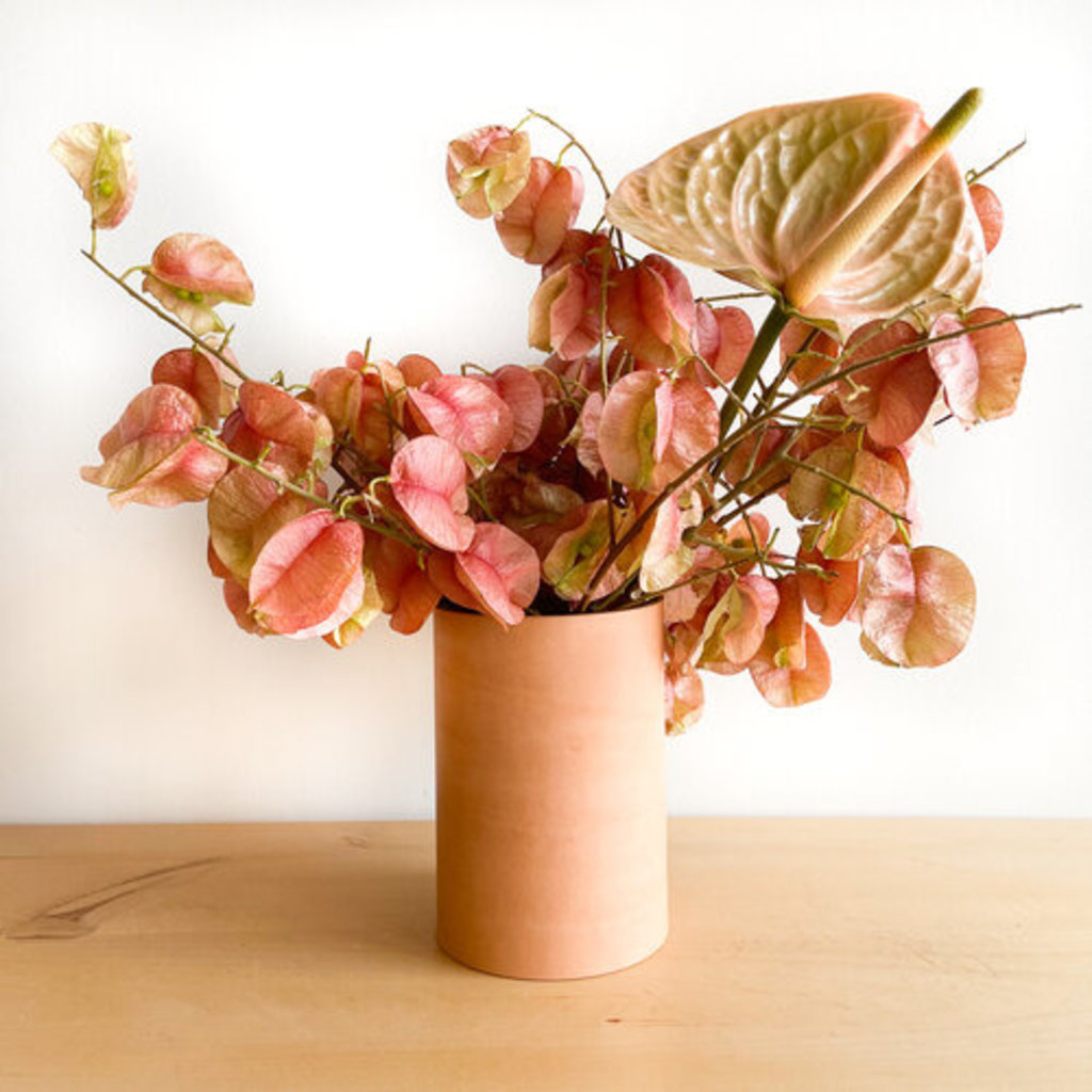 Made Solid Tan Natural Leather Wrapped Vase, Med