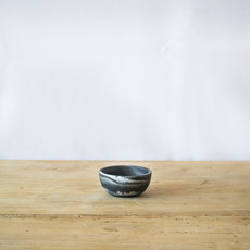 Blue Pheasant Mini Serving Bowl in Black Swirled Resin