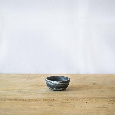 Blue Pheasant Mini Serving Bowl in Black Swirled Resin