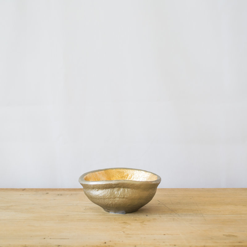 Large Aluminum & Gold Bowl