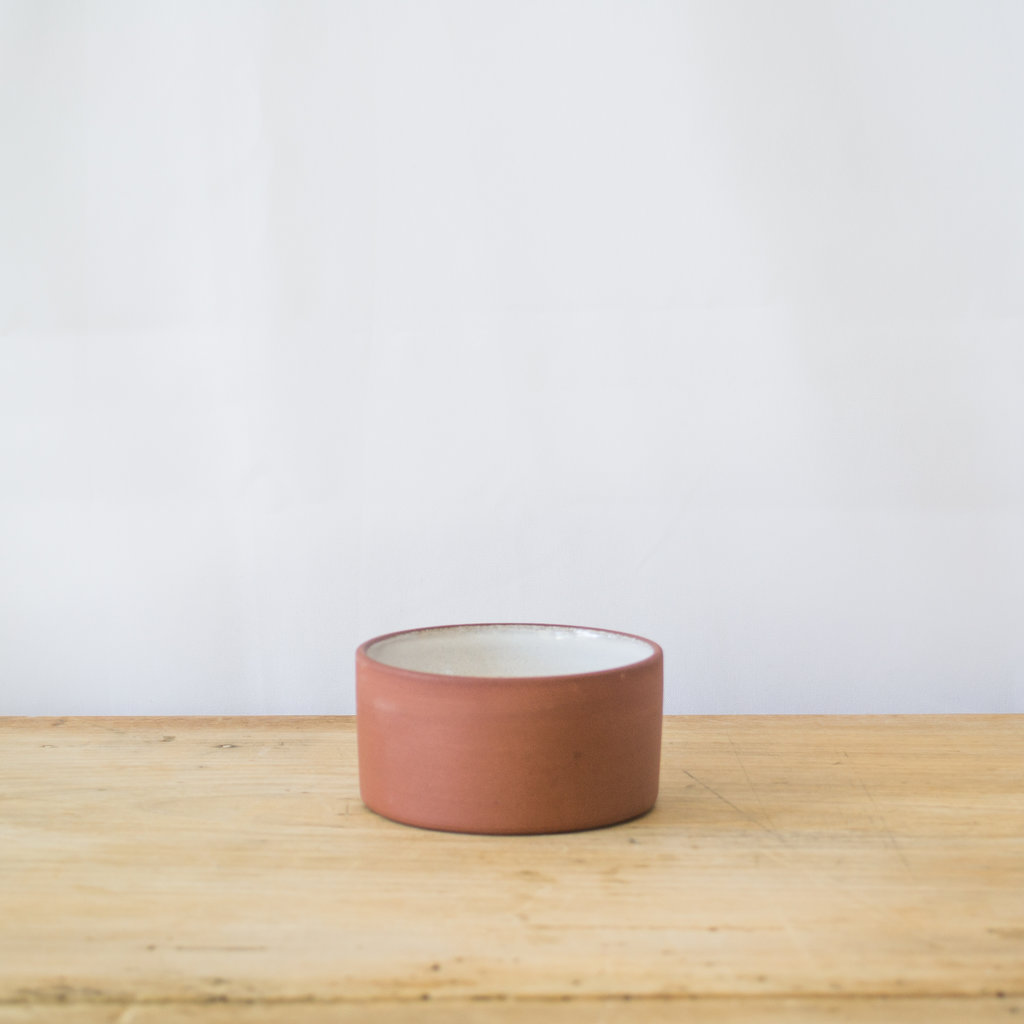 White Glaze & Red Clay Salt Cellar