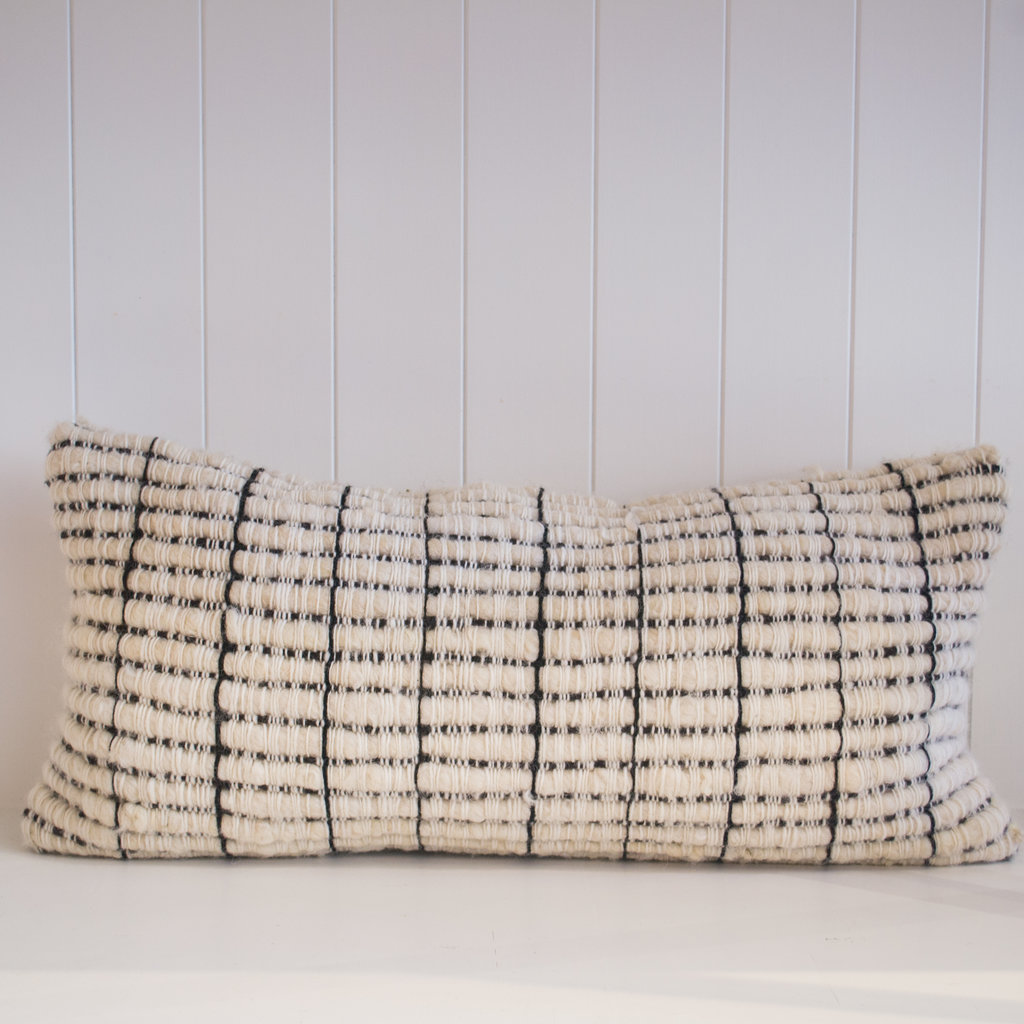 "Treko Makun Pillow, Texturized White and Black, 10"" x 25"" with Insert"