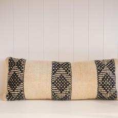 "Treko Pukan Pillow, White and Black Triple Stripe, 10"" x 25"" with Insert"