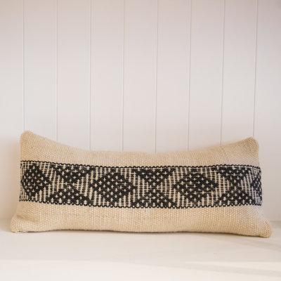 "Treko Pukan Pillow, White and Black Single Stripe, 10"" x 25"""