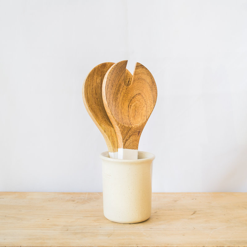 Be Home Mango Wood and White Enamel Serving Set