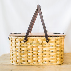Millstream Home Picnic Basket in Natural w/ Black Handles