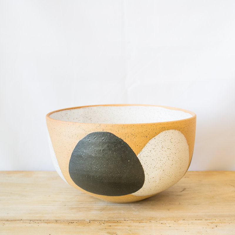Natan Moss Ceramics Large Stoneware Lucia Bowl in Black and White