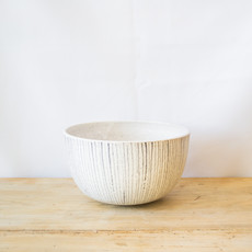 "Natan Moss Ceramics Medium Stoneware ""Jail Bird"" Bowl in White with Black Striping"