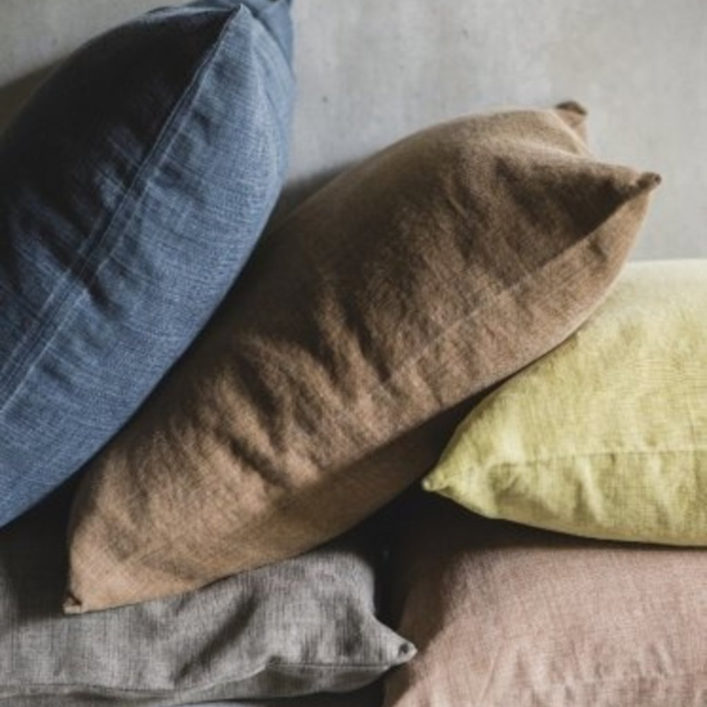 """Libeco 25"""" x 25"""" Re Linen Pillow Apricot with Insert"""