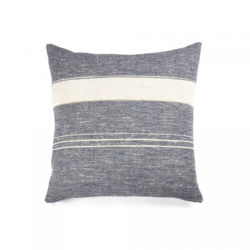 "Libeco 25""x25"" Linen Pillow North Sea Stripe with insert"