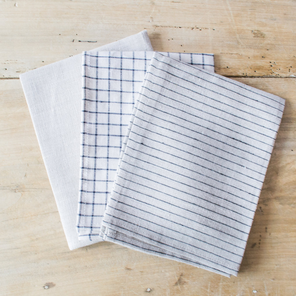 Fog Linen Linen Kitchen Towel with Stripe