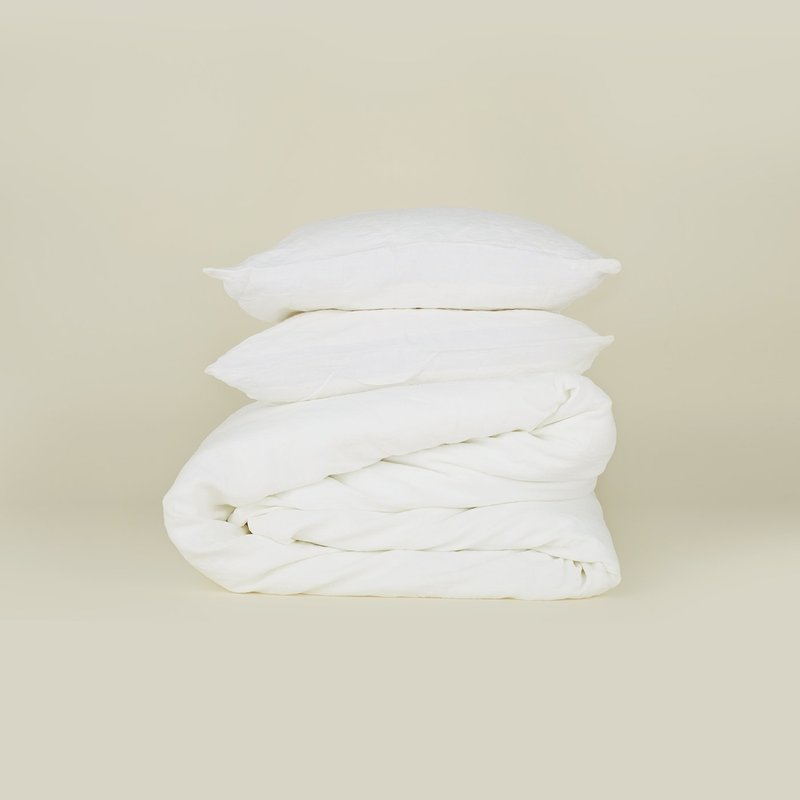 Hawkins New York Simple Linen Duvet Cover, Queen- White