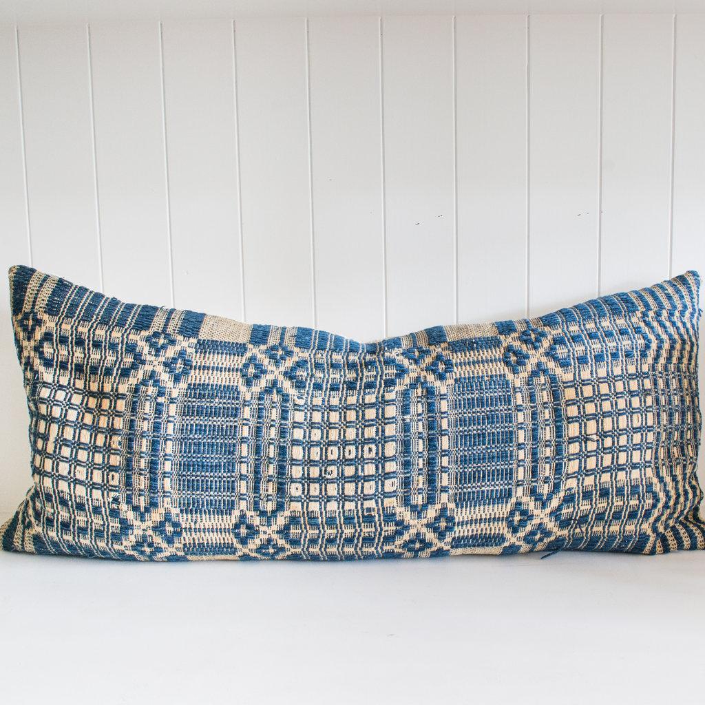 "31"" x 14"" Vintage Blue Textile Lumbar Pillow w/ insert"