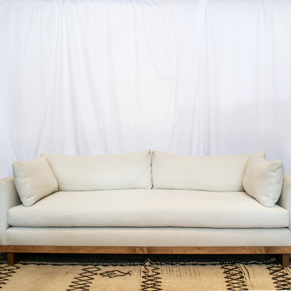 "Clayton Sofa 90"" with Bench Cushion in Natural Linen with Light Walnut Base"