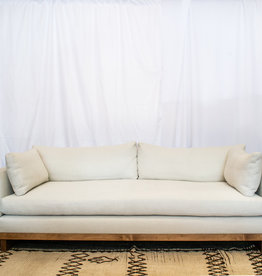 """Clayton Sofa 90"""" with Bench Cushion in Natural Linen with Light Walnut Base"""