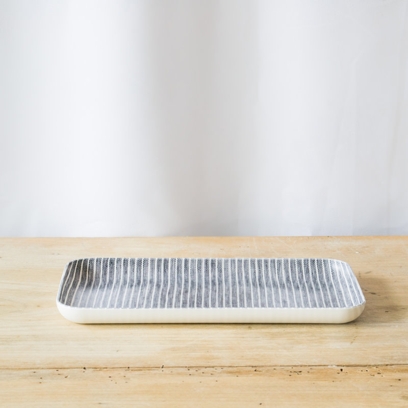 Fog Linen Gray and White Striped Linen Coated Tray, Small