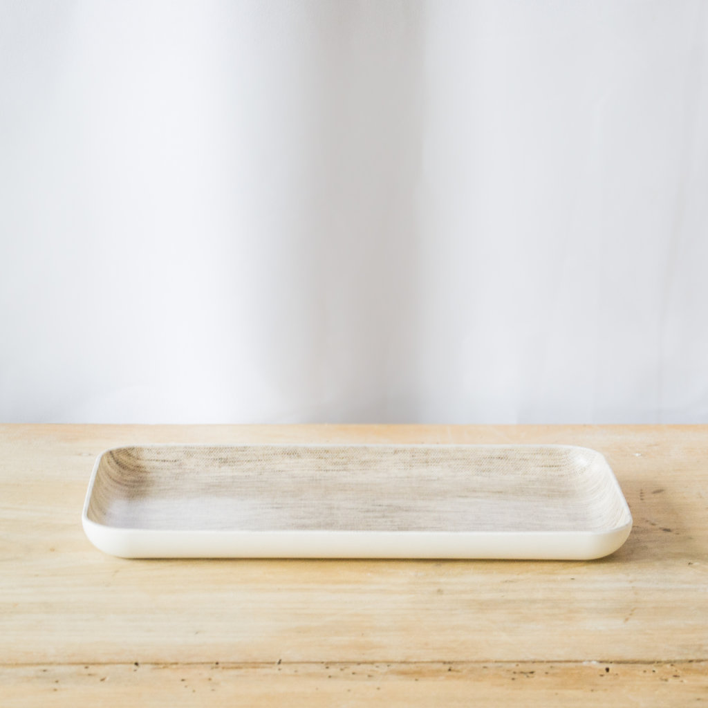 Fog Linen Natural Linen Coated Tray, Small