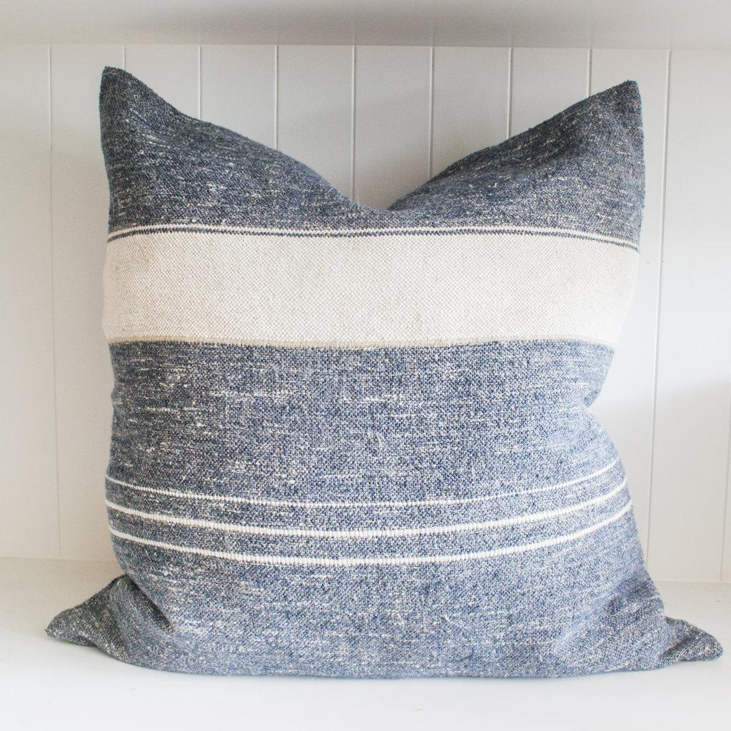 "Libeco 25""x25"" Linen Pillow North Sea Stripe with insert"