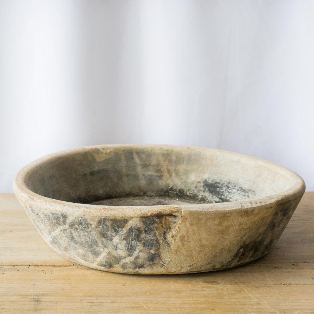 Round Antique Wooden Bowl