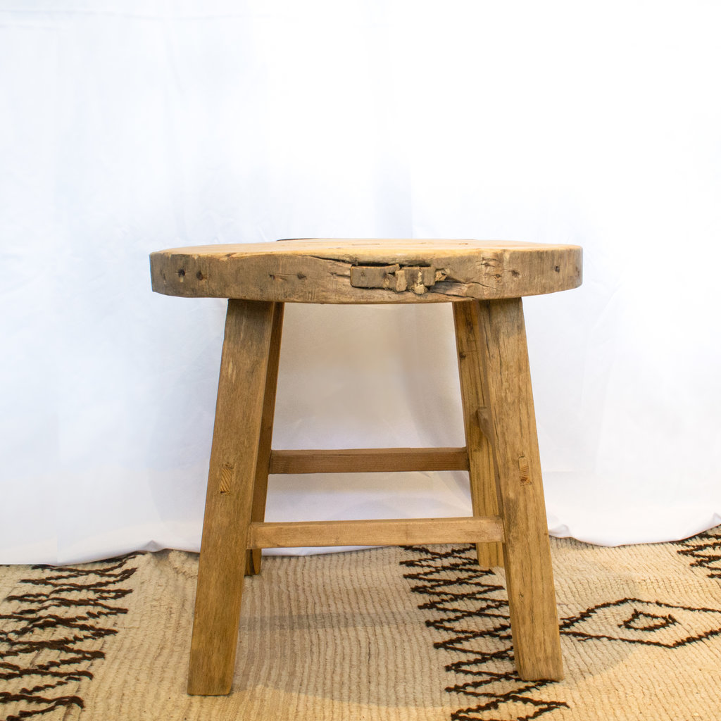 Round Elm Wood Antique  Side Table