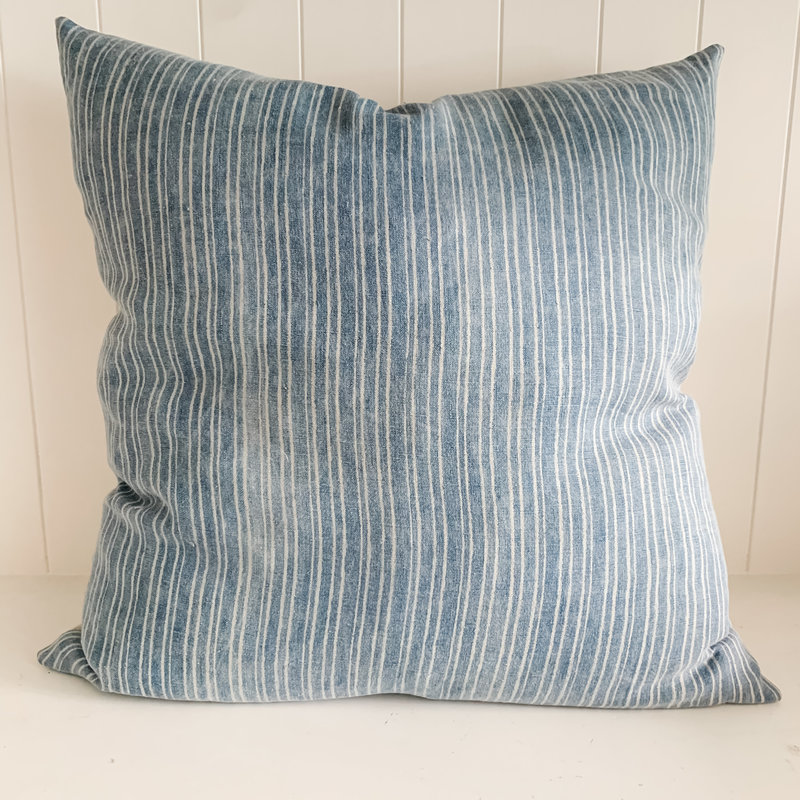 "Austin 22"" x 22"" Block Printed Pillow with insert.  Linen backed."