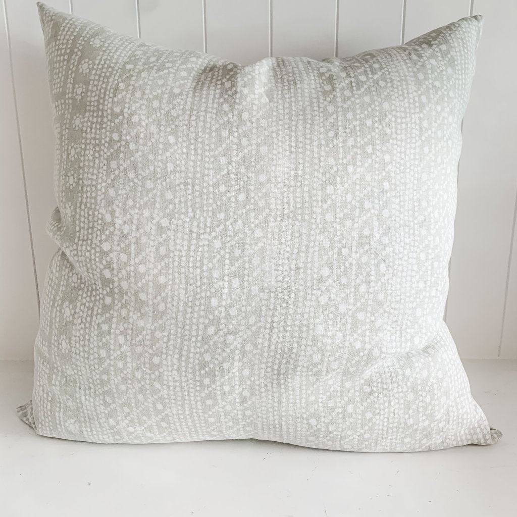 "Charlotte 22"" x 22"" Block Printed Pillow with insert.  Double sided print"