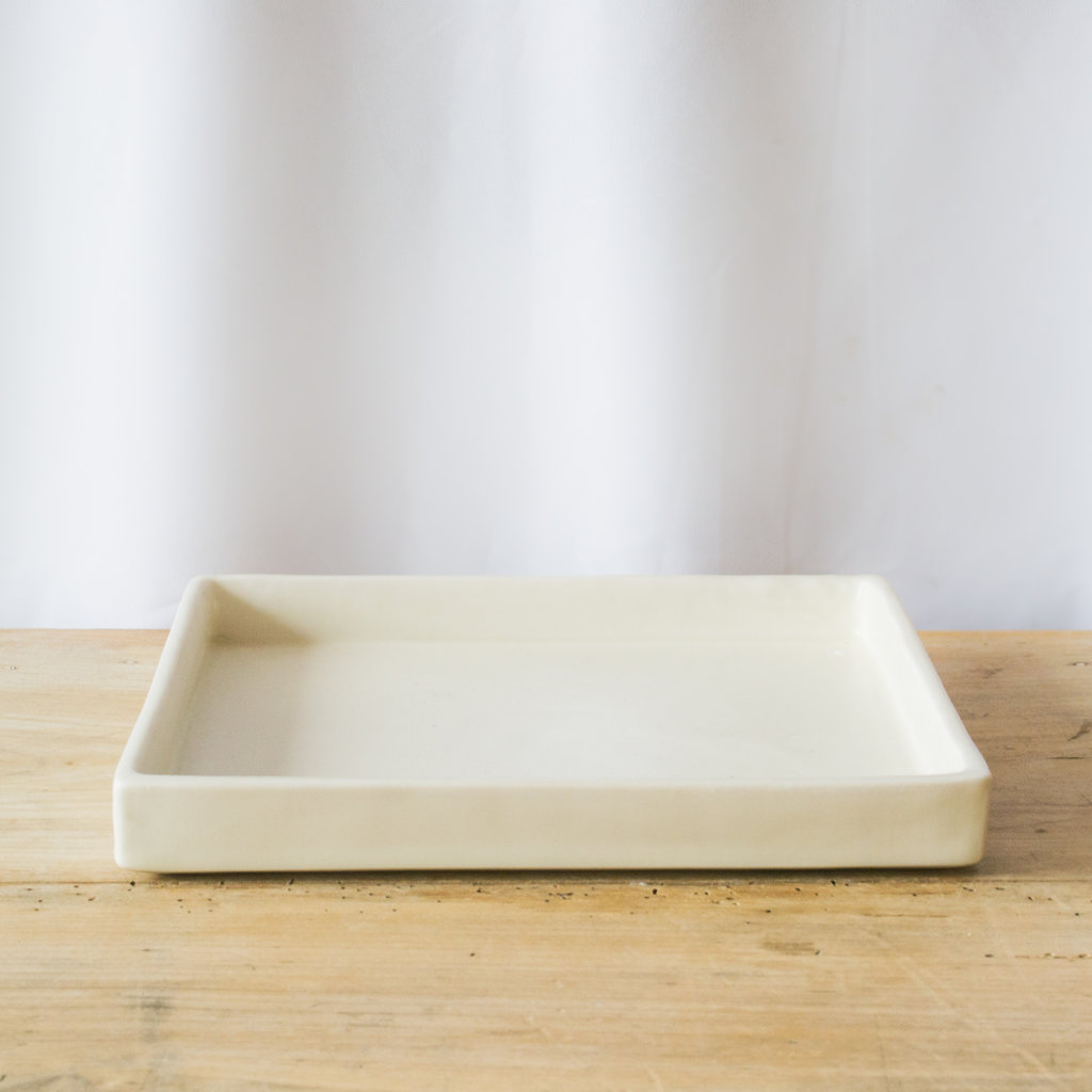 MS Ceramic Design Square Ceramic Tray, Porcelain with Cream Glaze