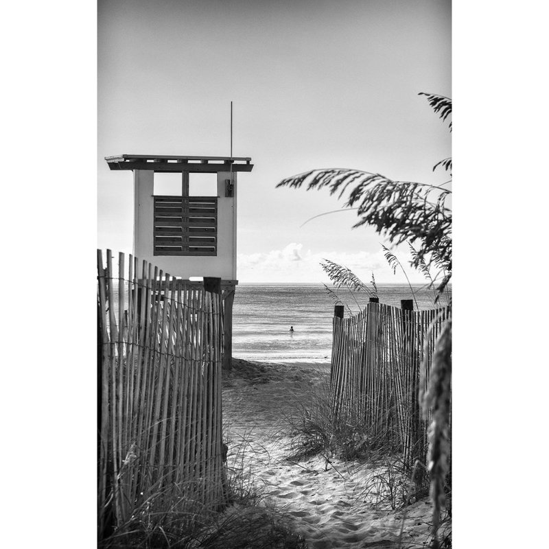 """GMoulin Limited Editions """"Lifeguard Tower #2"""" By Gregoire Moulin, 26.5"""" x 39.5"""", Oak Frame"""